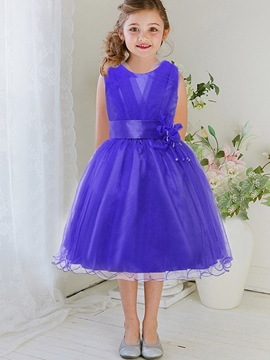 Ericdress Cross-Laminated Appliques Belt Wave-Cut Girls Dresses