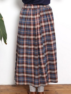 Ericdress Simple Plaid Maxi Skirt