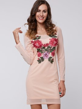 Ericdress Embroidery Long Sleeve Bodycon Dress