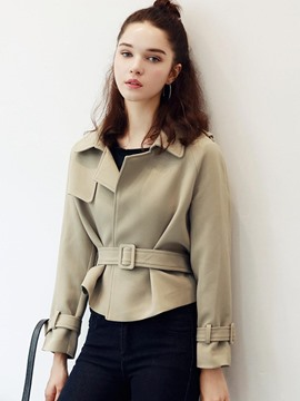 Ericdress Solid Color Belt Slim Jacket