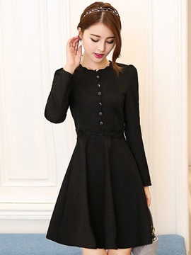 Ericdress Single Breasted Long Sleeve Skater Casual Dress
