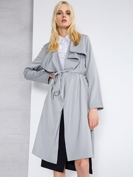 Ericdress Solid Color Lace-Up Wrapped Trench Coat