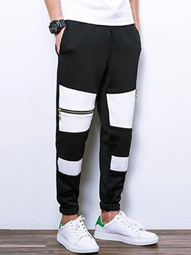 Ericdress Color Block Zip Vogue Casual Men's Pants