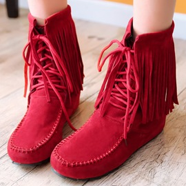 Ericdress Lovely Fringe Lace up Ankle Boots