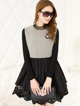 Ericdress Knit Patchwork A-Line Casual Dress