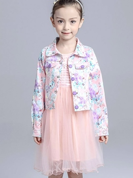 Ericdress Cotton floral Printed Patchwork Button Girls Outerwears