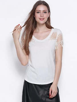 Ericdress Loose Backless Ripped Tassel T-Shirt