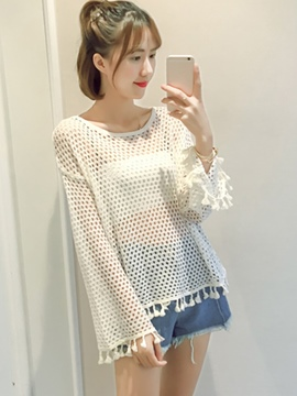 Ericdress Loose Hollow Tassel Knitwear