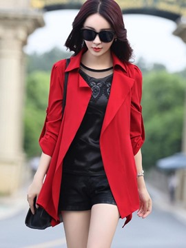 Ericdress Solid Color Slim Wrapped Trench Coat