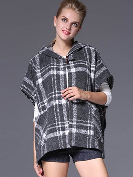 Ericdress Loose Plaid Hooded Coat