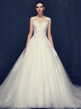Ericdress Charming Scoop Appliques Beaded Ball Gown Wedding Dress