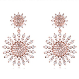 Ericdress Pink Sun Flower Zircon Earrings