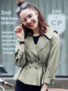 Ericdress Slim Solid Color Pleated Trench Coat