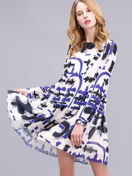 Ericdress Print Long Sleeve Loose Casual Dress