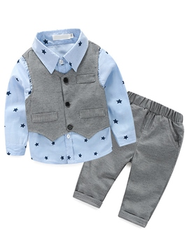 Ericdress Vest Five-Pointed Star Printed Three-Piece Boys Outfit