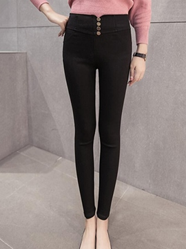 Ericdress Classical Button Decoration Leggings Pants