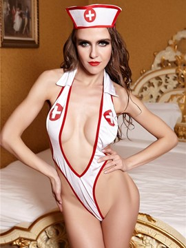 Ericdress Deep V-Neck Halt Sexy Nurse Cosplay Costume