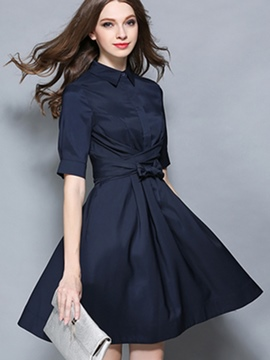 Ericdress Plain Half Sleeve Pleated Patchwork Casual Dress