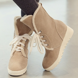 Ericdress Lovely Suede Lace up Snow Boots