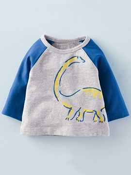 Ericdress Raglan Sleeve Color Block Print Boys Tops
