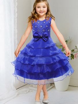 Ericdress Diamond Layered Dress Bow Appliques Girls Dresses
