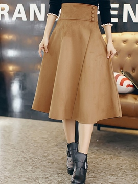 Ericdress Solid Color High-Waist Usual Skirt