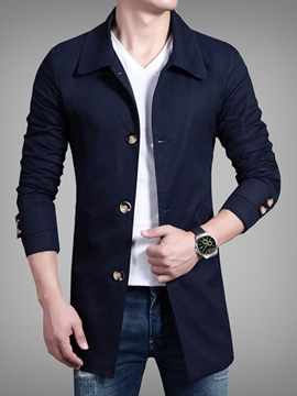Ericdress Plain Single-Breasted Vogue Men's Trench Coat