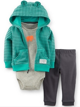 Ericdress Strip Hooded Color Block Three-Piece Boys Outfits