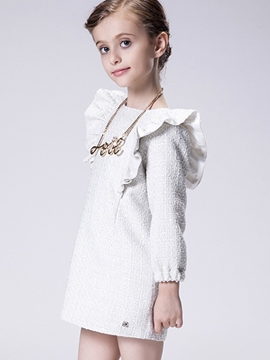 Ericdress Textured Pure Falbala Long Sleeve Shrink Sleeves Girls Dress