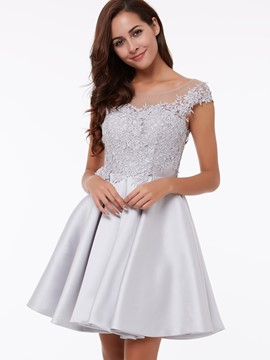 Ericdress A-Line Scoop Cap Sleeves Appliques Lace Short Homecoming Dress