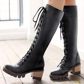 Ericdress Cool PU Square Heel Knee High Boots