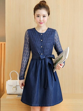 Ericdress Solid Color Lace Patchwork Lace-Up Casual Dress