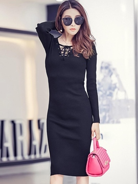 Ericdress Plain Lace-Up Long Sleeve Sheath Dress