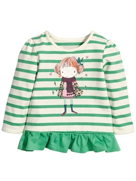 Ericdress Strip Cartoon Printed Falbala Pleated Girls Tops