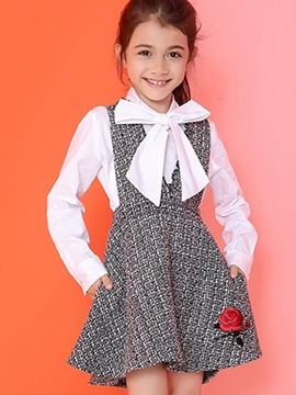 Ericdress Large V Collar Embroidery Suspender Falbala Girls Dresses