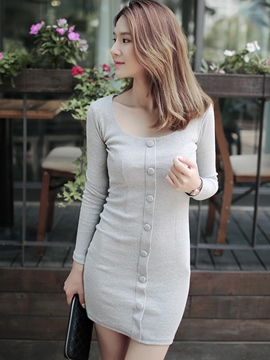 Ericdress Plain Knit Single Breasted Long Sleeve Bodycon Dress