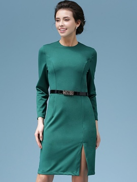 Ericdress Plain Split Long Sleeve Bodycon Dress
