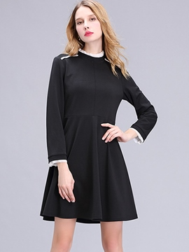 Ericdress Patchwork Stand Collar Little Black Dress