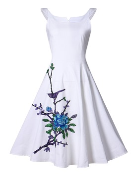 Ericdress Embroidery Sleeveless Expansion Casual Dress
