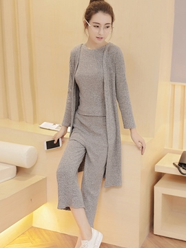 Ericdress Simple Solid Color Knitwear Suit