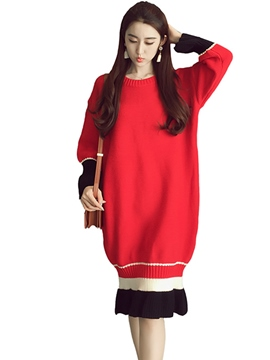 Ericdress Lantern Style Long Sleeve Autumn Sweater Dress