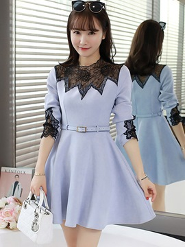Ericdress Long Sleeve Lace Patchwork A-Line Casual Dress