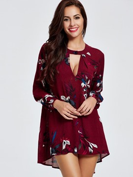 Ericdress Loose V-Neck Floral Printed Blouse