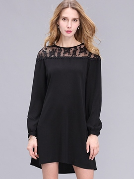 Ericdress Patchwork A-Line Little Black Dress