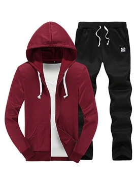 Ericdress Plain Zip Hood Casual Men's Suit