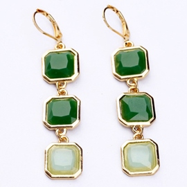 Ericdress Square Gemstone Earrings