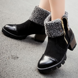 Ericdress Patchwork Side Zip Ankle Boots