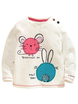 Ericdress Baby Cartoon Embroidery Letter Printed Girls Tops