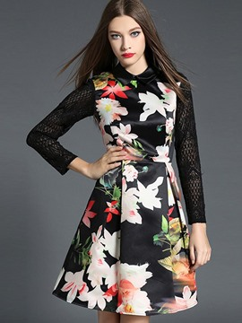 Ericdress Autumn Print Patchwork A-Line Casual Dress