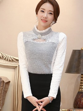 Ericdress Color Block Stand Collar Patchwork T-Shirt